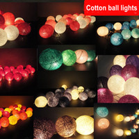 Wholesale Cotton Fairy String Lights - Thailand style 20 White rainbow blue green sunset purple pink handmade cotton Ball String Lights Fairy wedding XMAS Patio Deco