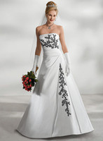 Wholesale Gowns Wedding Apparel - 2014 New wedding Apparel strapless wedding dress gown Sexy Bride dresses Custom-Made size white color and with black color embroidery