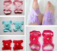 Wholesale Rhinestone Shoe Ornaments - 40pairs lot Baby Girls Rhinestone Barefoot Socks Sandals Shoes Kids Tulle Pearl Foot Ornaments Child Infant Flower Socks 10 Color M0307