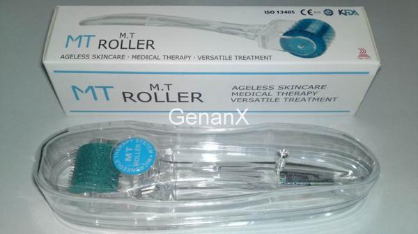 MT 192 Micro Needle Derma Roller Therapy System Transparet Handle.skin rullo di bellezza, rullo ago in acciaio inox