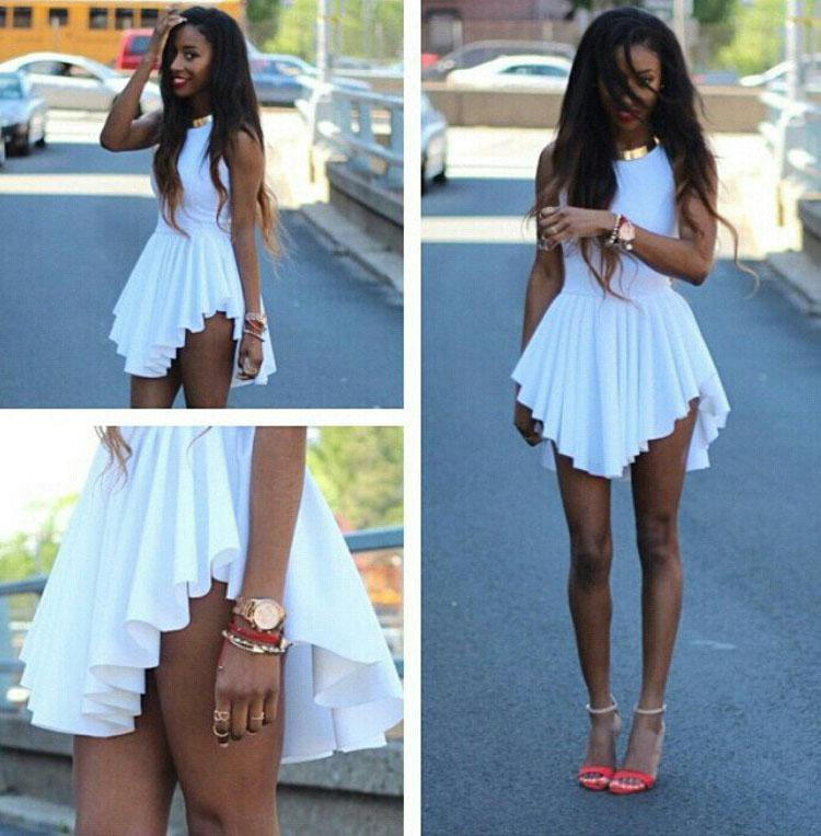 f82c7530f682 2016 Hot Fashion Women Mini Dresses White Irregular Pleated Skirt New  Summer Sleeveless Sexy Bodycon Party Dress Ladies Casual Dress PY4 Cute  White Dresses ...