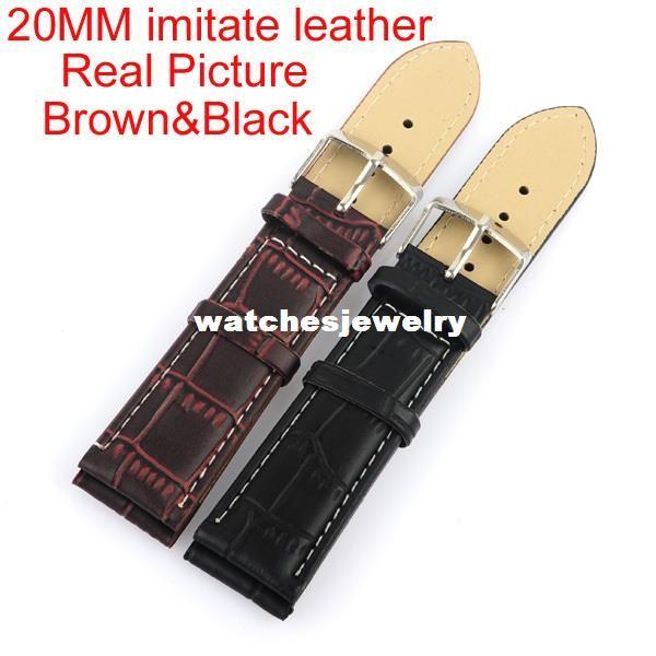 Оптовая продажа-Оптовая высокое качество 50 шт. / лот 20 мм 22 мм 24 мм искусственная кожа ремешок для часов водонепроницаемые ремни спортивные часы группа Черный Brown407