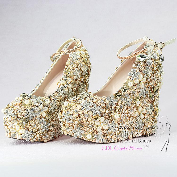 Custom Design Rainbow Crystal Wedge Wedding Shoes For Bridal Party ...