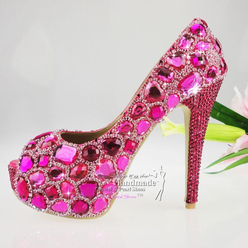 Women Shoes High Heel Peep Toe Fuchsia Hotpink Glitter Crystal ...