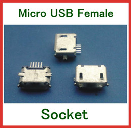 micro usb type b female Canada - 5pcs Micro USB 2.0 Type B Female 5Pin SMT DIP Socket Connector Port Free Shipping
