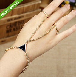 Wholesale Wholesale Two Finger Rings - Punk Rock Triangle Golden Chain Two Fingers Ring Bangle Bracelet Jewelry Gift[F272*6]