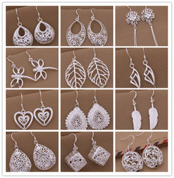 Wholesale Dangles Drop - Mixed Order 925 silver plated drop earrings fashion jewelry personalized Christmas to send his girlfriend   wife gift free shipping
