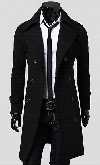 2017 Hot Sale Men's Korean Fashion Wool Coat Double Breasted Knee ...