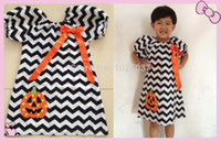 Wholesale-Kids Party Girls Chevron Kleider Halloween Infant Ttoddler Orange Kürbis-Kleid