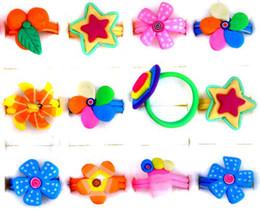 Wholesale Adjustable Acrylic Rings - Flower Rings! 30X Multicolor Polymer Clay Rings Cute Children's Rings Adjustable Rings [PR14*30]