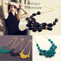 Wholesale Drop Gem Bib - Wholesale - Pegasus Bib Choker Necklace European and American Fluorescence Colors Crystal Gem Flower Drop For Women Statement Necklace