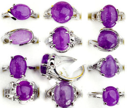 Wholesale Amethyst Fashion Rings - Jewelry 30 Pcs Lots Fashion Unisex Amethyst Crystal Silver Plated Ring New[STS25*30]