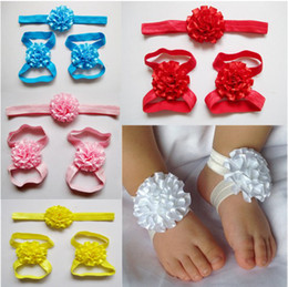 Wholesale Baby Girl Shoes Pair - 30set lot Baby Girls Flower Barefoot Socks Sandals Shoes Kids Floral Foot Ornaments 1set=a pair of foot flower+a hairband 9 Color M0317