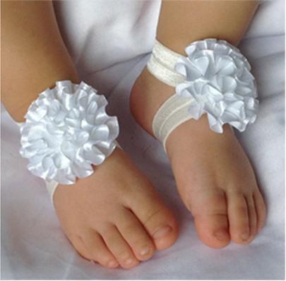 30 paires / lot Bébés Filles Fleur Chaussettes Pieds Nus Sandales Chaussures Enfants Floral Pied Ornements Enfants Belle Pied Fleur 9 Couleur M0316