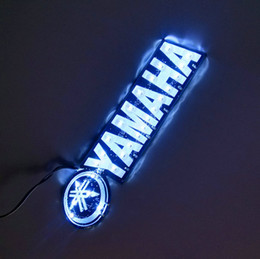 Wholesale Small Stickers Wholesale - 2* SMALL SIZE Self Adhesive light yamaha sticker 3D Flame sticker with light Badge Emblem led stickers white COLOR
