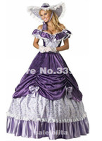 Wholesale Xxl Evening Gowns - Free Shipping 19 Century Purple Civil War Southern Belle Gown Evening Dress Party Victorian dresses