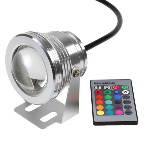 10W 12V RGB LED Underwater Spot Light Waterproof Boat Yacht Lamp Remote Control