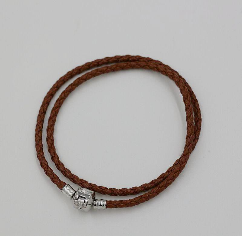 Vente chaude ! 57- couleur double bracelets en cuir Fit European Charms Perles 179