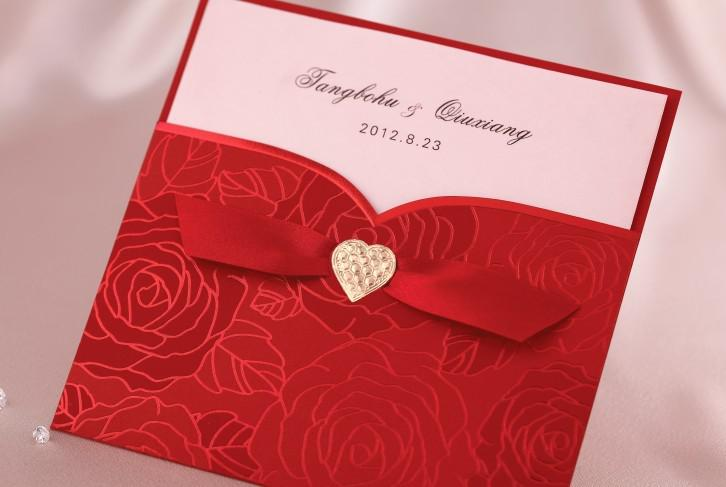 Red And Black Wedding Invitation Kits: Happy Wedding Party Elegant Red Gold Heart Printable And