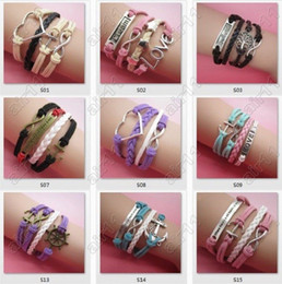 Wholesale Infinity Love Cross Beads Wholesale - 2015 new Mix Style Infinity Bracelet Believe Cross Anchor Love Jesus Owl Bicycle Multilayer Hot Selling