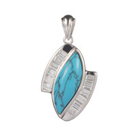 Wholesale Trendy S p Casual Turquoise and White Cubic Zirconia beautiful S sterling Silver Pendants Classic