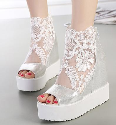 buld silk lace white silver wedge sandals high platform heels invisible height increased peep toe women shoes 2 colors size 35 to 39