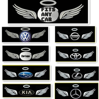 Wholesale Car Gods - 50 x SILVER 3D CHROME ANGEL WING HALO GOD HOLY CAR AUTO STICKER EMBLEM LOGO Free Shipping