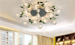 Wholesale Crystal Glass Lamp Shades Pendant - Crystal Leaves Aluminium Glass Balls Shade Ceiling Light Pendant Lamp Chandelier