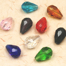 Wholesale Loose Drop Crystal - 200pcs lot A Grade Faceted Glass Beads Crystal Quartz Cube 10x15mm Pear Shape Tear drop Spacer Fancy Loose Beads 9 Colors DIY Material