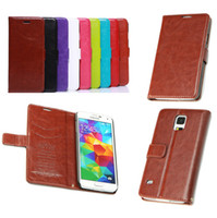 Wholesale S4 Folio Flip Case - PU Leather Wallet Stand Case with Card Slot Holder Folio Flip Cover for iPhone 6 5 5S 4 4S Galaxy S4 S5 NOTE3 HTC LG Huawei Sony Free DHL