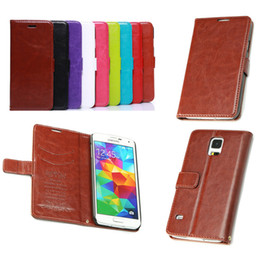 Wholesale S4 Holder Leather Card - PU Leather Wallet Stand Case with Card Slot Holder Folio Flip Cover for iPhone 6 5 5S 4 4S Galaxy S4 S5 NOTE3 HTC LG Huawei Sony Free DHL
