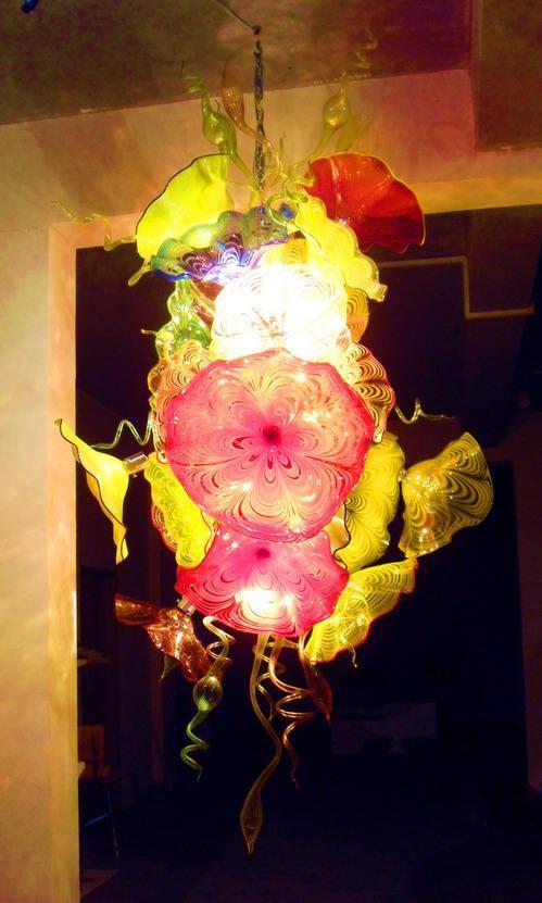 moderne mundgeblasenem Glas Kronleuchter Trompete und Platte Form Glas LED-Lampen Kronleuchter Kunst Licht Murano Glas Kronleuchter