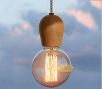 Wholesale Pretty Lamps - Creative Hand made pretty Socket chandeliers hanging wood Pendant Lamp wooden fashion coffee shop  Bar lamps with original Bulb 220V HSA0249