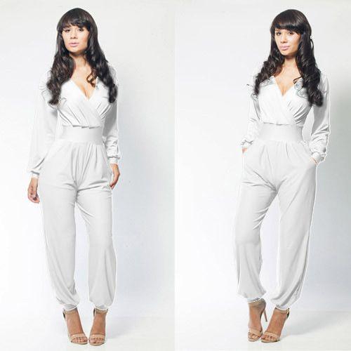 2016 mode kvinnor långa jumpsuits kostym pant sexig v-nacke löst jumpsuit siamese rompers bodycon party dress casual damer tjej jumpsuits yq27
