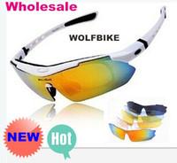 Wholesale Sunglasses Road Cycling Goggles - WOLFBIKE Men Fashion Cycling Bicycle Road Mountain Bike Outdoor Sports Sun Glasses Eyewear Goggle Sunglasses 5 Lens Polarized latest ne