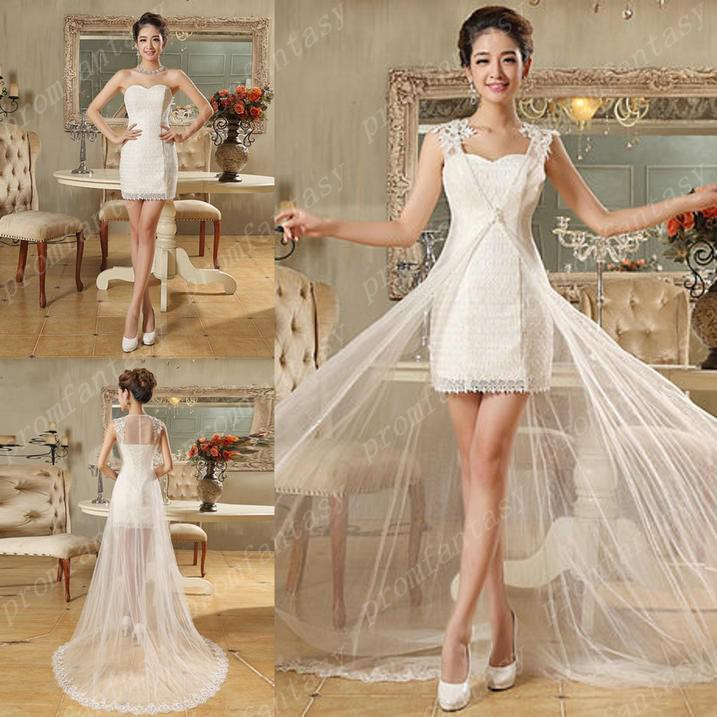 2016 2 In 1 Two Piece Short Lace Sheath Beach Wedding Dresses With