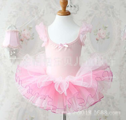 Vêtements De Danse Pour Le Ballet Pas Cher-Vêtements pour enfants Filles Cotton Glitter Shinning manches bouffantes Gauze Ballet pour enfants Robe Dance Performance Porter Rose Blanc Papillon Knot K0160