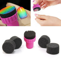 Wholesale Nail Printer Stamper - Wholesale-10 Pcs Magic Nail Art Sponges with Stamper Polish Stamping Manicure Tool Set Equipment Nail Printer Free Shipping