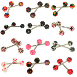 Wholesale Tongue Bar Titanium - 50 pcs Colorful Titanium 316L Surgical Steel Tongue Bar Rings Body Piercing Jewelry Free Shipping[BA71*50]