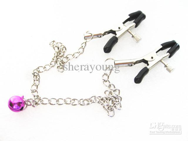 Adult Games Metal Chained Nipple Clip Clamp with bell Bondage Masturbation Flirt Sex Toy for women XLY1131