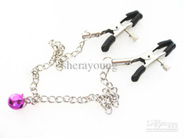 Wholesale Bell Sex Toys - Wholesale - Chained Nipple Clip Clamp with bell Bondage Masturbation Flirt Sex Toy for women XLY1131