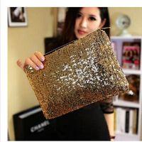 Wholesale Sliver Clutches - 2014 Women Fashion sliver Sparking glitter bling paillette cluth purse Pocket Ladies Evening Party handbag bag Cosmetic bag gift for gril