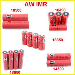Wholesale Vamo Batteries - AW IMR 18350 18490 18500 14500 18650 LI-MN high drain battery for Mechanical Mods Itaste Vamo Electronic Cigarette e cig kits cheap