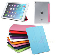 Wholesale Slim Hard Back Ipad - Slim Flip Smart Case Cover transparent Back Hard For Apple iPad Mini   ipad air 5 ipad 2 3 4 Sleep Wake w  Stand