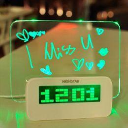 Wholesale Usb Led Hubs - LED Digital Fluorescent Message Board Clock Alarm Temperature Calendar Timer USB Hub Blue Green Light H10374