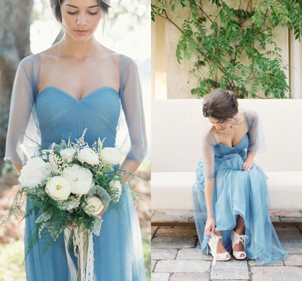 Cheap SSJ 2016 Blue Convertible Bridesmaid Dresses with Free Wrap ...