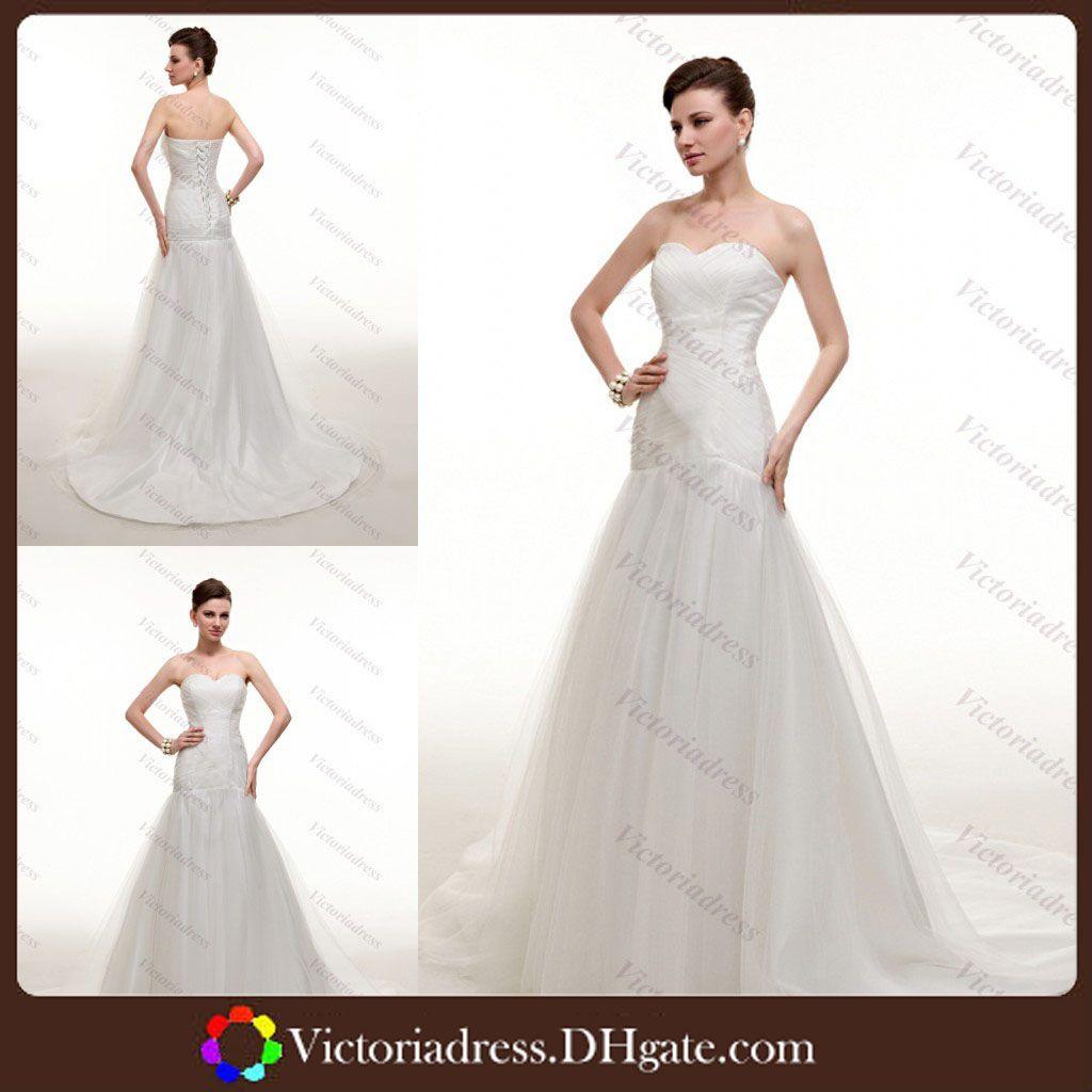 Simple But Elegant White Wedding Dress Beach Tulle A Line Sweetheart Bandage Back Design Full Length Stock Cheap 2014 Gown
