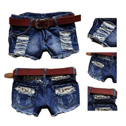 Wholesale Denim Jeans Skinny Girls - S5Q Retro Vintage Women Girl Low Waist Tassel Hole Jeans Denim Shorts Pants Blue AAADNG