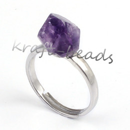 Wholesale Indian Free Channels - Free Shipping Wholesale 10Pcs Silver Plated Natural Amethyst Irregular Shape Healing Chakra Adjustable Finger Ring Charm Jewelry