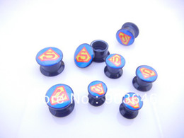 Wholesale Plug Superman - Free Shippment Lot 50pcs Body Jewelry -SUPERMAN Ear Plug Flesh Tunnels Screw on Expanders Earlets Gauges 6mm 8mm 10mm 12mm.